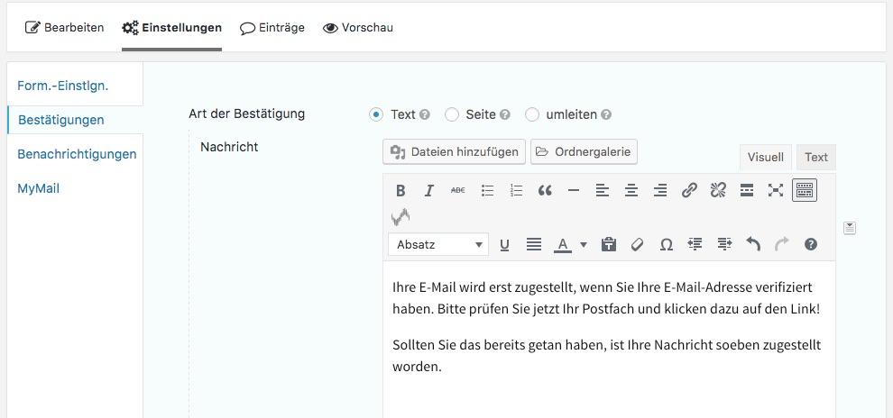 Der Absender muss nun sein E-Mail Postfach auf die Bestätigungsmail prüfen und seine Adresse bestätigen.