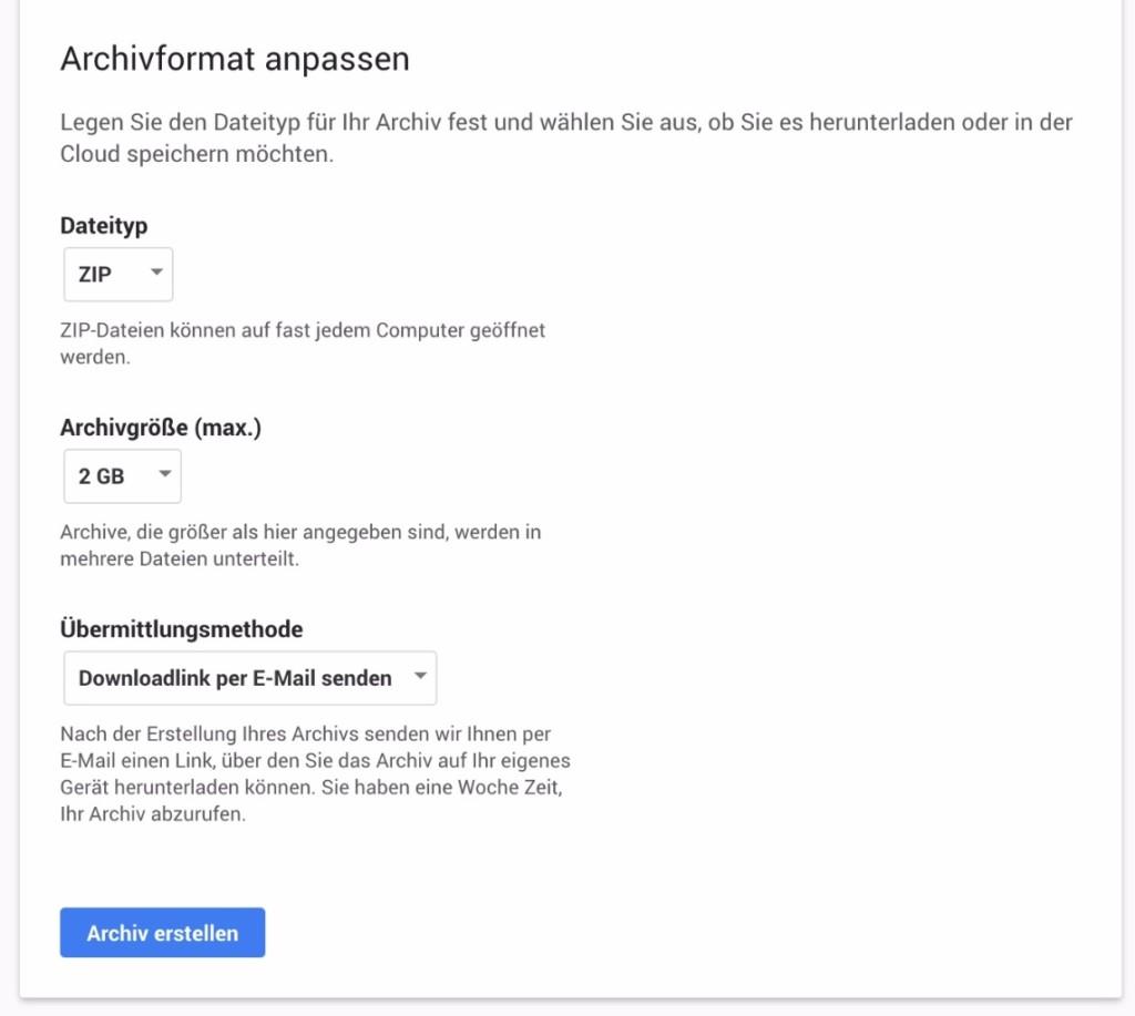 Dateiformat, Archivgröße und Übermittlungsmethode einstellen