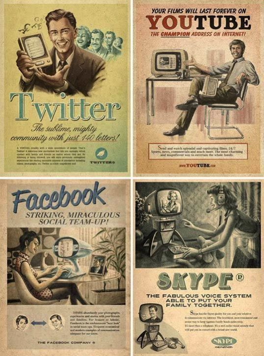 Retro Vintage Poster Skype, Facebook, Twitter & Youtube