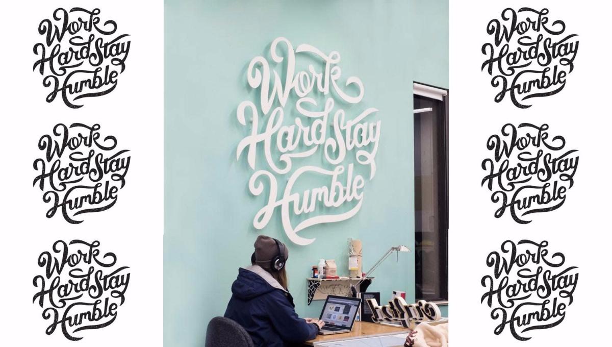 "<span itemprop=""name"">Work hard stay humble – Schriftzug Writing Wall Logo</span>"